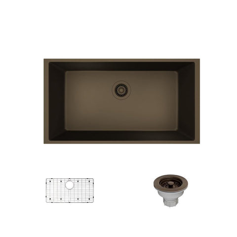 "Rene 33"" Composite Granite Kitchen Sink, Umber, R3-1006-UMB-ST-CGS"
