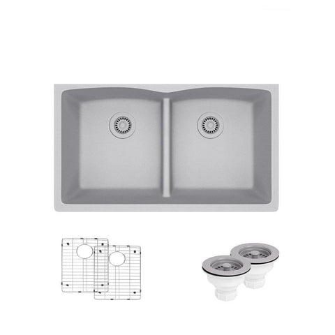 "Rene 33"" Composite Granite Kitchen Sink, 50/50 Double Bowl, Pewter, R3-1007-PWT-ST-CGS"