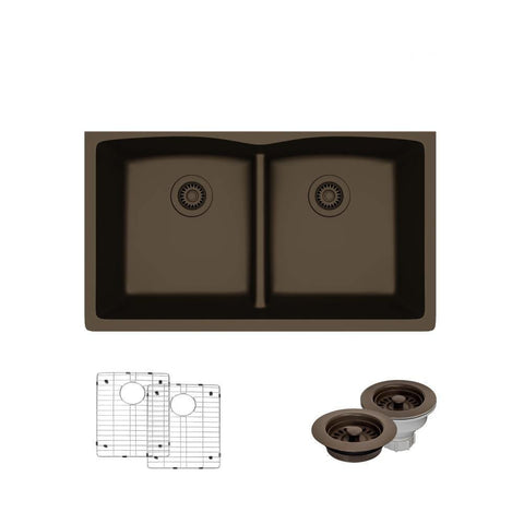 "Rene 33"" Composite Granite Kitchen Sink, 50/50 Double Bowl, Umber, R3-1007-UMB-ST-CGF"
