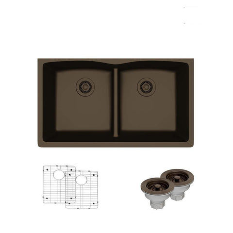 "Rene 33"" Composite Granite Kitchen Sink, 50/50 Double Bowl, Umber, R3-1007-UMB-ST-CGS"