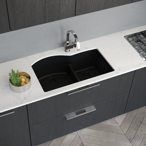 "Rene 33"" Composite Granite Kitchen Sink, 60/40 Double Bowl, Carbon, R3-1008-CAR-ST-CGF"