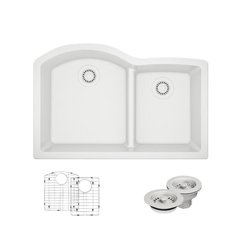 "Rene 33"" Composite Granite Kitchen Sink, 60/40 Double Bowl, Ivory, R3-1008-IVR-ST-CGF"