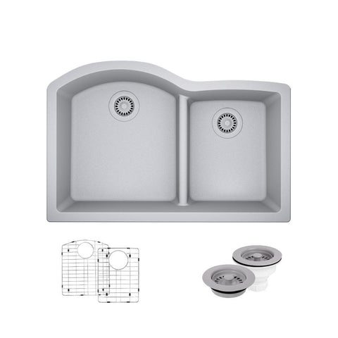 "Rene 33"" Composite Granite Kitchen Sink, 60/40 Double Bowl, Pewter, R3-1008-PWT-ST-CGF"