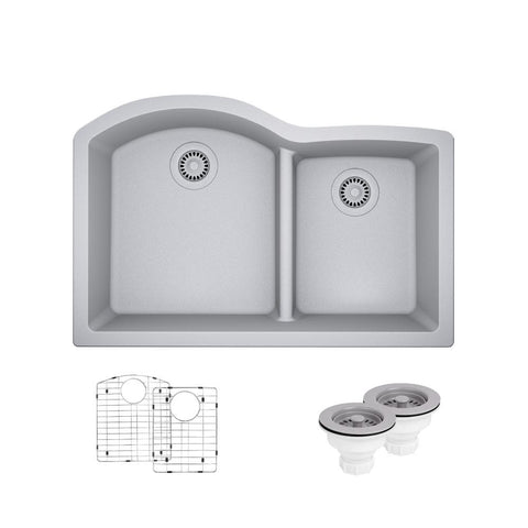 "Rene 33"" Composite Granite Kitchen Sink, 60/40 Double Bowl, Pewter, R3-1008-PWT-ST-CGS"