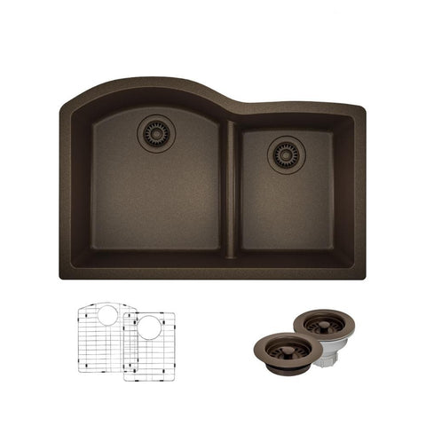 "Rene 33"" Composite Granite Kitchen Sink, 60/40 Double Bowl, Umber, R3-1008-UMB-ST-CGF"