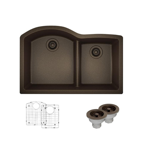 "Rene 33"" Composite Granite Kitchen Sink, 60/40 Double Bowl, Umber, R3-1008-UMB-ST-CGS"
