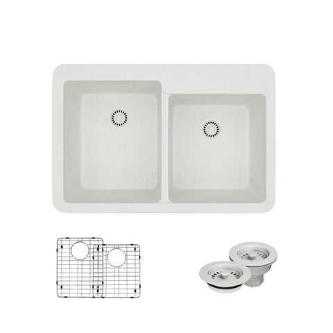 "Rene 33"" Composite Granite Kitchen Sink, 60/40 Double Bowl, Ivory, R3-2001-IVR-ST-CGF"