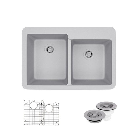 "Rene 33"" Composite Granite Kitchen Sink, 60/40 Double Bowl, Pewter, R3-2001-PWT-ST-CGF"
