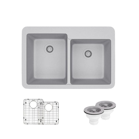 "Rene 33"" Composite Granite Kitchen Sink, 60/40 Double Bowl, Pewter, R3-2001-PWT-ST-CGS"