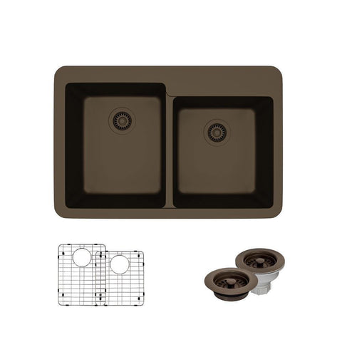 "Rene 33"" Composite Granite Kitchen Sink, 60/40 Double Bowl, Umber, R3-2001-UMB-ST-CGF"