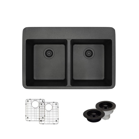 "Rene 33"" Composite Granite Kitchen Sink, 50/50 Double Bowl, Carbon, R3-2002-CAR-ST-CGF"