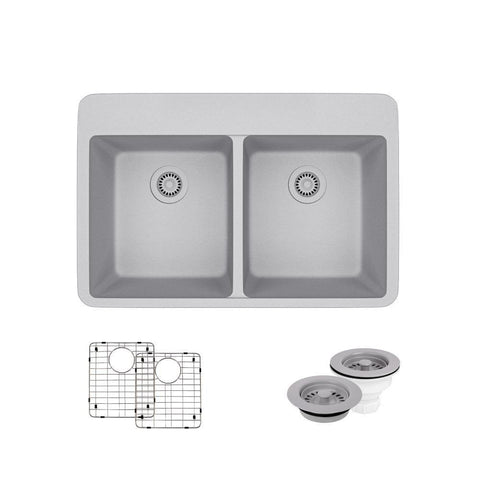 "Rene 33"" Composite Granite Kitchen Sink, 50/50 Double Bowl, Pewter, R3-2002-PWT-ST-CGF"