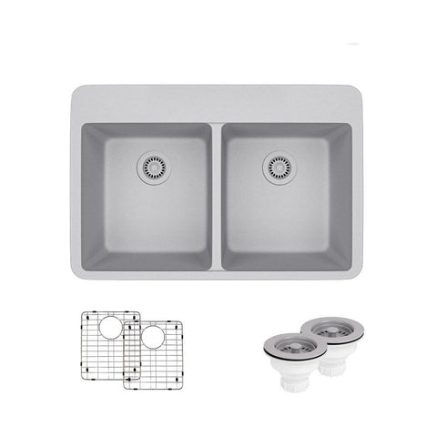 "Rene 33"" Composite Granite Kitchen Sink, 50/50 Double Bowl, Pewter, R3-2002-PWT-ST-CGS"
