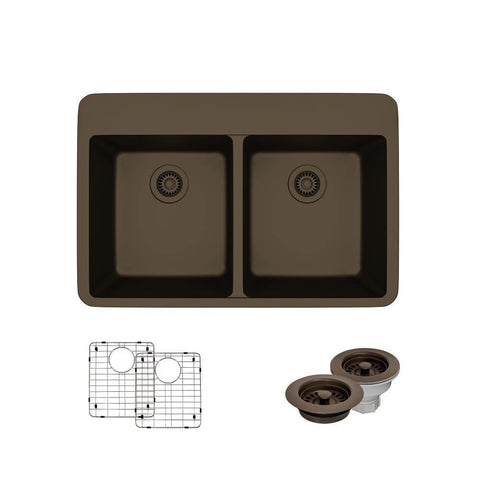 "Rene 33"" Composite Granite Kitchen Sink, 50/50 Double Bowl, Umber, R3-2002-UMB-ST-CGF"