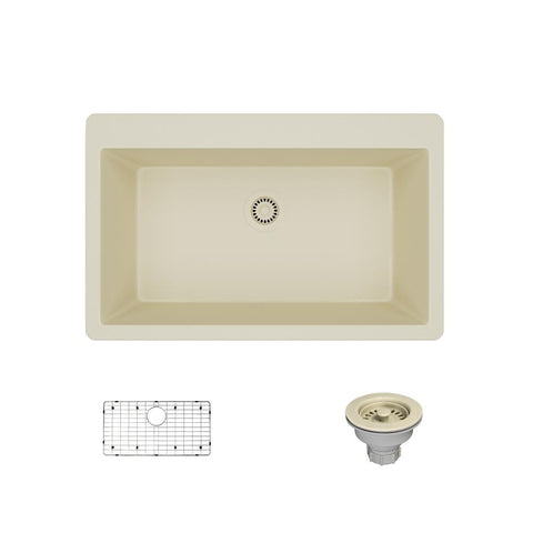 "Rene 33"" Composite Granite Kitchen Sink, Ecru, R3-2006-ECR-ST-CGS"