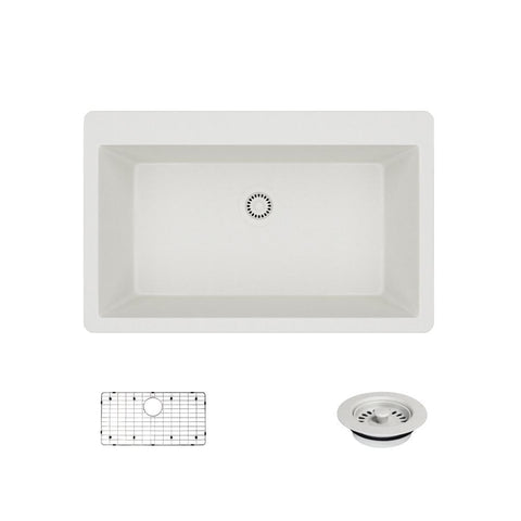 "Rene 33"" Composite Granite Kitchen Sink, Ivory, R3-2006-IVR-ST-CGF"