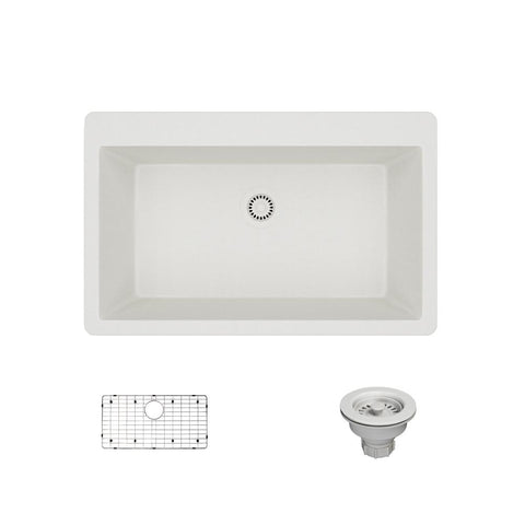 "Rene 33"" Composite Granite Kitchen Sink, Ivory, R3-2006-IVR-ST-CGS"
