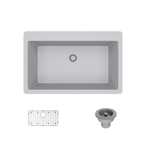 "Rene 33"" Composite Granite Kitchen Sink, Pewter, R3-2006-PWT-ST-CGS"