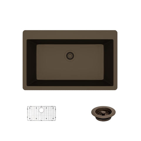 "Rene 33"" Composite Granite Kitchen Sink, Umber, R3-2006-UMB-ST-CGF"