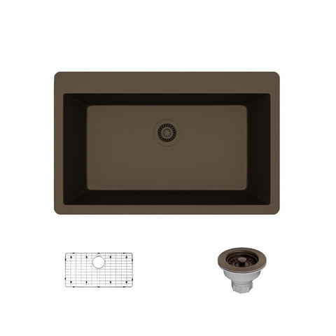 "Rene 33"" Composite Granite Kitchen Sink, Umber, R3-2006-UMB-ST-CGS"