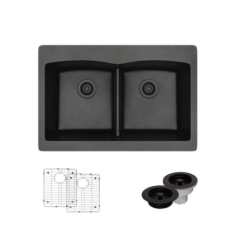 "Rene 33"" Composite Granite Kitchen Sink, 50/50 Double Bowl, Carbon, R3-2007-CAR-ST-CGF"
