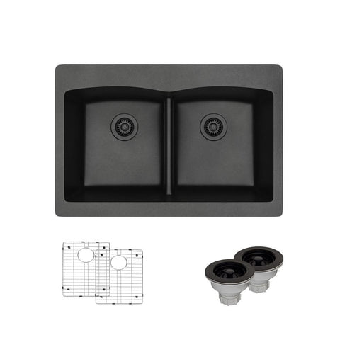 "Rene 33"" Composite Granite Kitchen Sink, 50/50 Double Bowl, Carbon, R3-2007-CAR-ST-CGS"