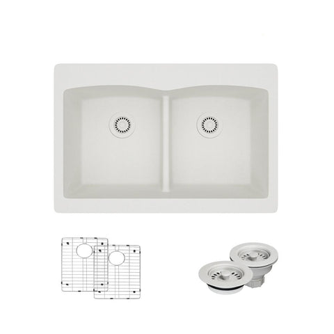 "Rene 33"" Composite Granite Kitchen Sink, 50/50 Double Bowl, Ivory, R3-2007-IVR-ST-CGF"