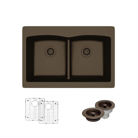 "Rene 33"" Composite Granite Kitchen Sink, 50/50 Double Bowl, Umber, R3-2007-UMB-ST-CGF"