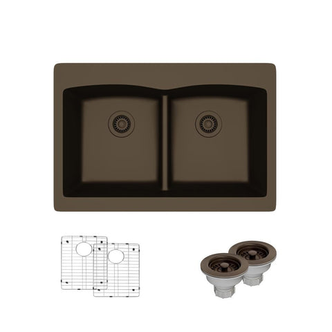 "Rene 33"" Composite Granite Kitchen Sink, 50/50 Double Bowl, Umber, R3-2007-UMB-ST-CGS"