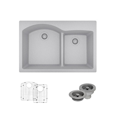 "Rene 33"" Composite Granite Kitchen Sink, 60/40 Double Bowl, Pewter, R3-2008-PWT-ST-CGF"