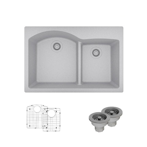 "Rene 33"" Composite Granite Kitchen Sink, 60/40 Double Bowl, Pewter, R3-2008-PWT-ST-CGS"