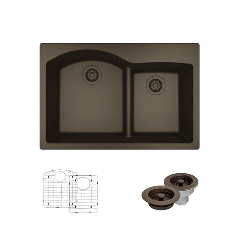 "Rene 33"" Composite Granite Kitchen Sink, 60/40 Double Bowl, Umber, R3-2008-UMB-ST-CGF"