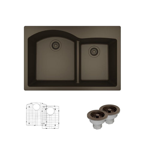 "Rene 33"" Composite Granite Kitchen Sink, 60/40 Double Bowl, Umber, R3-2008-UMB-ST-CGS"