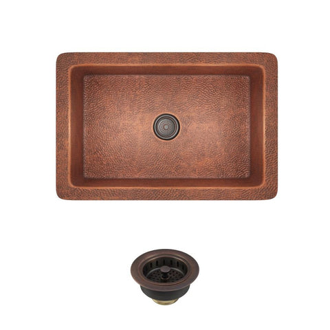 "Rene 33"" Copper Kitchen Sink, R4-1003-ST-C"