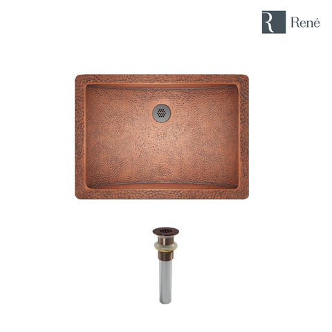 "Rene 21"" Rectangular Copper Bathroom Sink, R4-1006-GD-ORB"