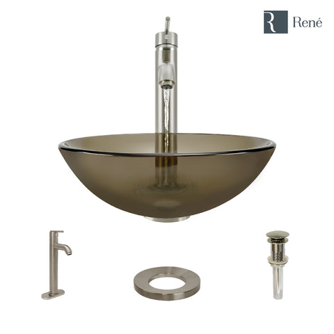 "Rene 17"" Round Glass Bathroom Sink, Cashmere, with Faucet, R5-5001-CAS-R9-7001-BN"