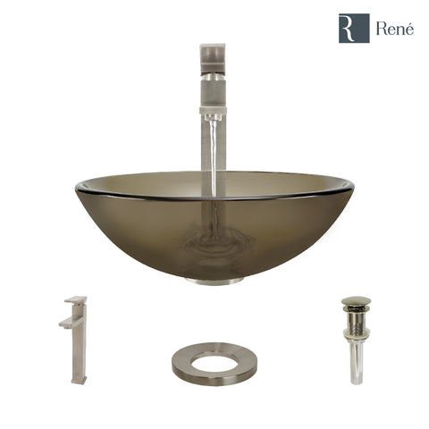 "Rene 17"" Round Glass Bathroom Sink, Cashmere, with Faucet, R5-5001-CAS-R9-7003-BN"