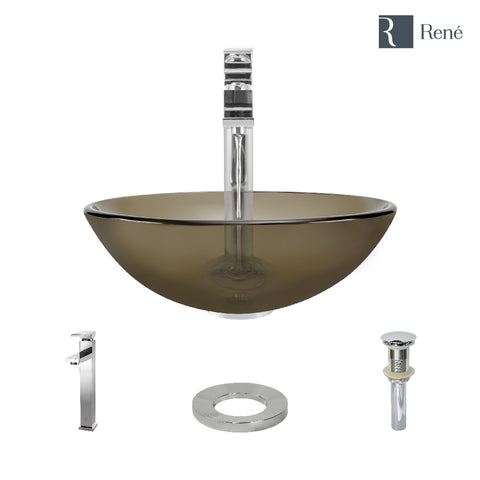 "Rene 17"" Round Glass Bathroom Sink, Cashmere, with Faucet, R5-5001-CAS-R9-7003-C"