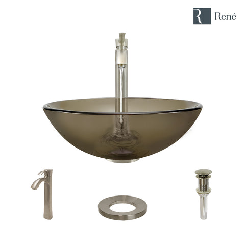 "Rene 17"" Round Glass Bathroom Sink, Cashmere, with Faucet, R5-5001-CAS-R9-7006-BN"
