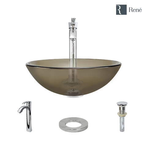 "Rene 17"" Round Glass Bathroom Sink, Cashmere, with Faucet, R5-5001-CAS-R9-7006-C"