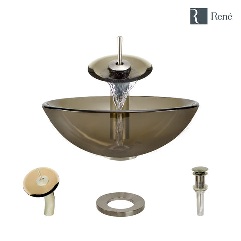 "Rene 17"" Round Glass Bathroom Sink, Cashmere, with Faucet, R5-5001-CAS-WF-BN"