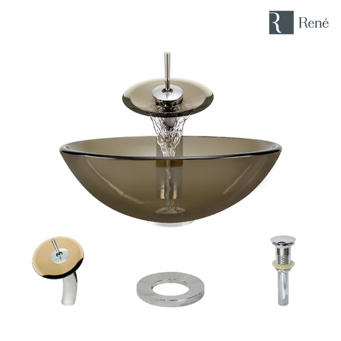 "Rene 17"" Round Glass Bathroom Sink, Cashmere, with Faucet, R5-5001-CAS-WF-C"