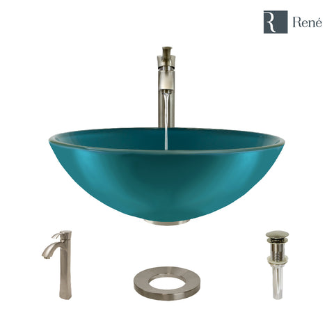 "Rene 17"" Round Glass Bathroom Sink, Cerulean, with Faucet, R5-5001-CER-R9-7006-BN"