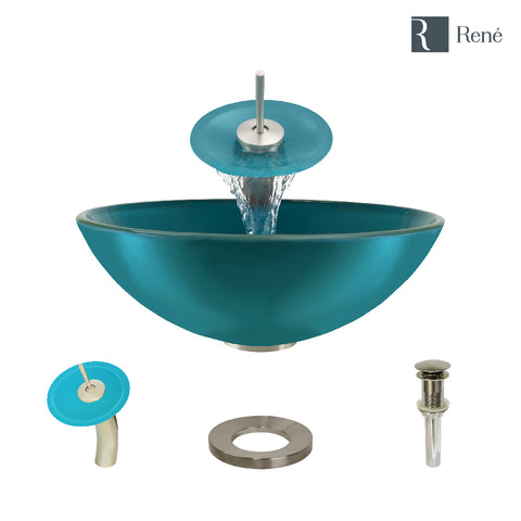 "Rene 17"" Round Glass Bathroom Sink, Cerulean, with Faucet, R5-5001-CER-WF-BN"