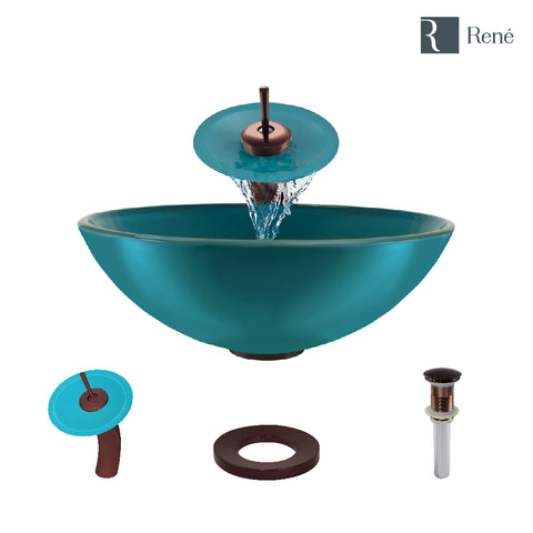 "Rene 17"" Round Glass Bathroom Sink, Cerulean, with Faucet, R5-5001-CER-WF-ORB"