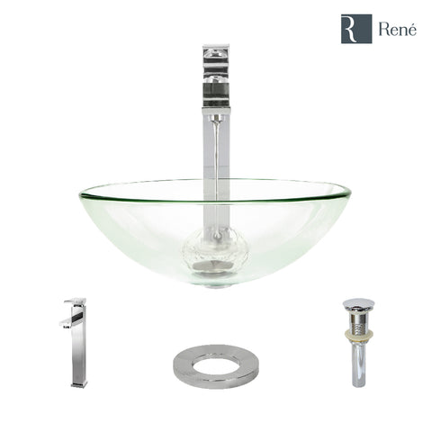 "Rene 17"" Round Glass Bathroom Sink, Crystal, with Faucet, R5-5001-CRY-R9-7003-C"