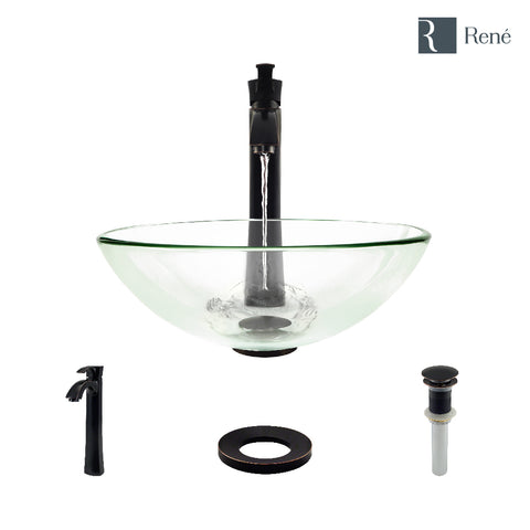 "Rene 17"" Round Glass Bathroom Sink, Crystal, with Faucet, R5-5001-CRY-R9-7006-ABR"