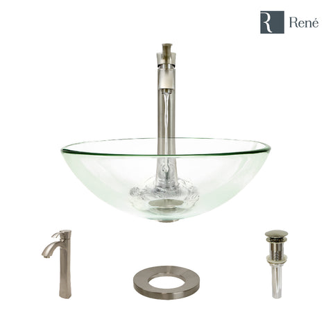 "Rene 17"" Round Glass Bathroom Sink, Crystal, with Faucet, R5-5001-CRY-R9-7006-BN"