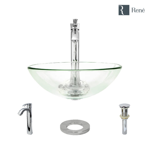 "Rene 17"" Round Glass Bathroom Sink, Crystal, with Faucet, R5-5001-CRY-R9-7006-C"