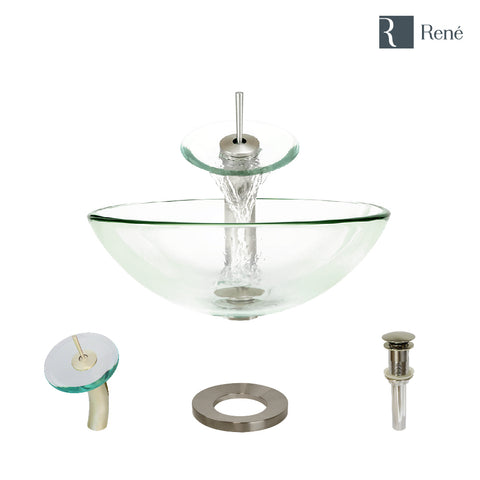 "Rene 17"" Round Glass Bathroom Sink, Crystal, with Faucet, R5-5001-CRY-WF-BN"